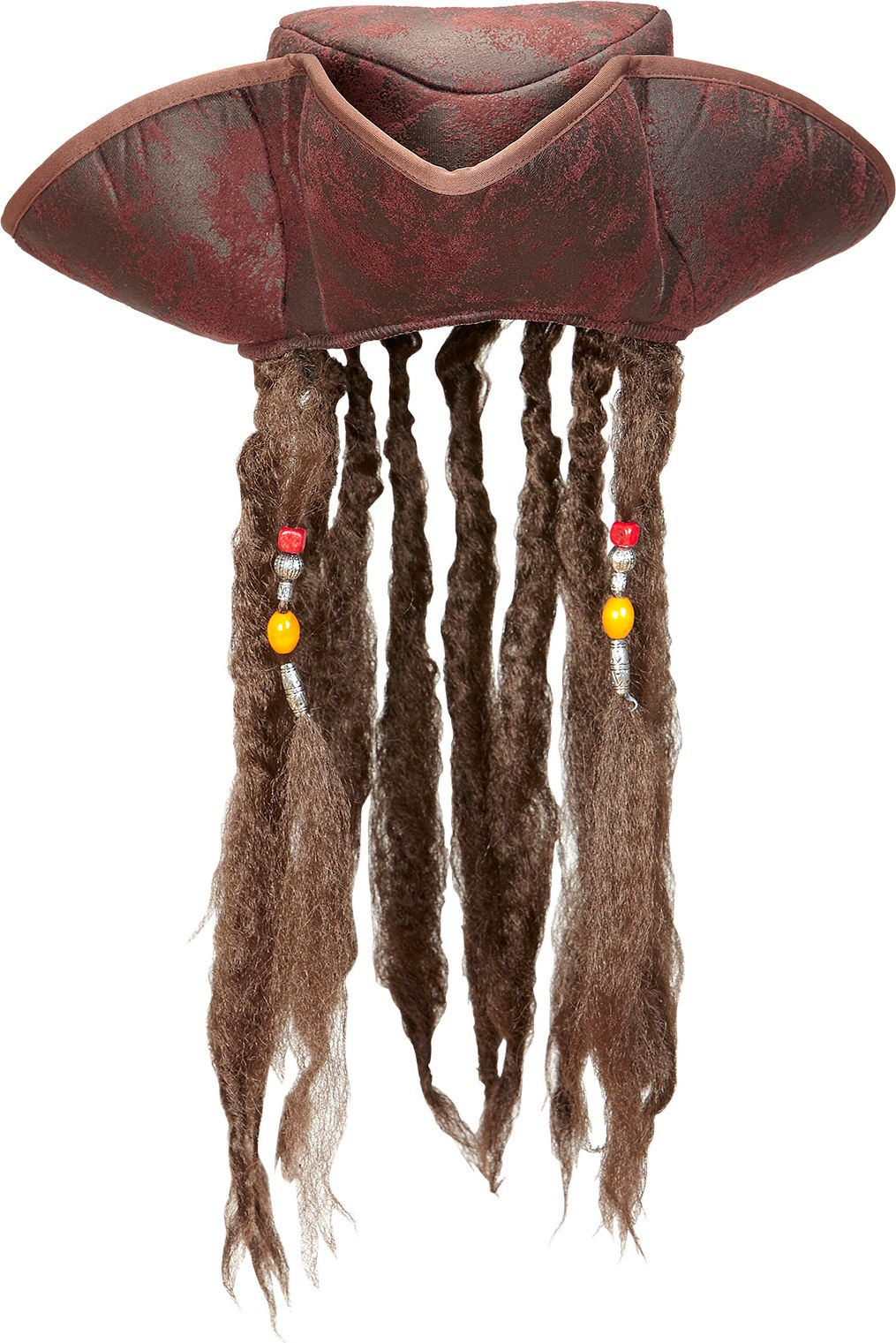 Lederlook piraten tricorn met dreadlocks