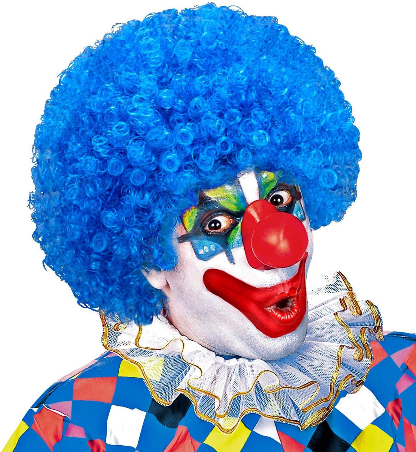 Licht blauwe clowns pruik