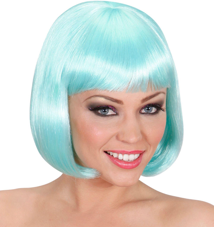 Lichtblauwe pruik kort haar
