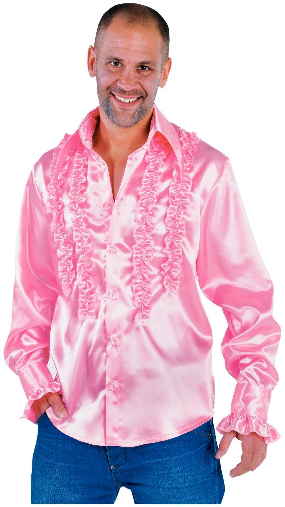 Lichte roze ruches blouse heren