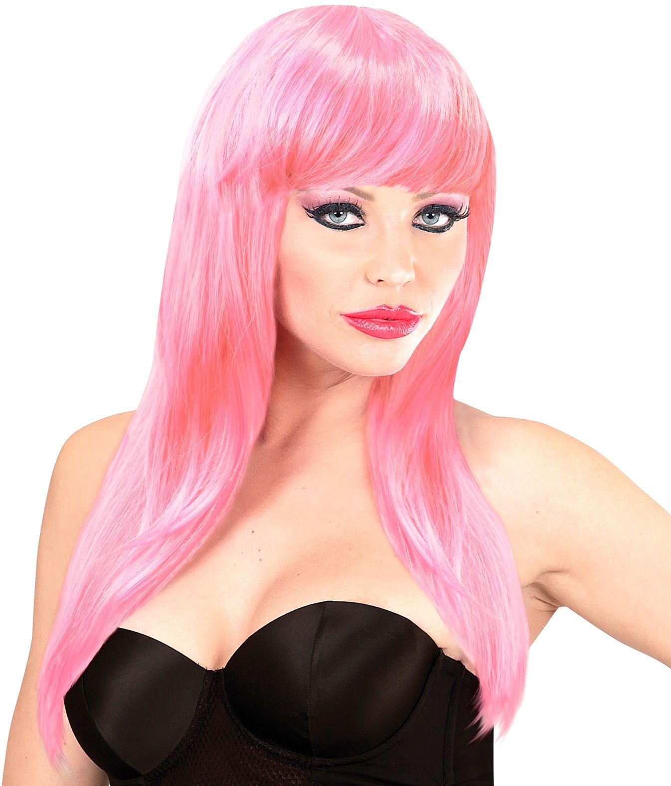 Lichtroze pruik lang haar