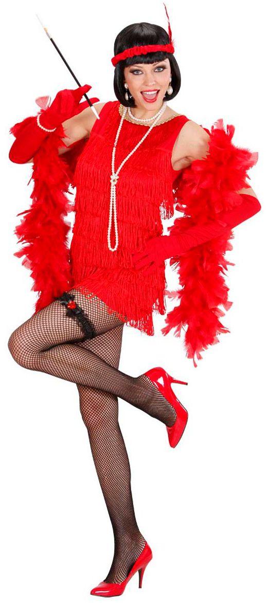 Luxe flapper jurk rood roaring jaren 20