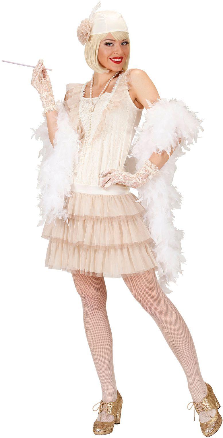 Luxe flapper jurk wit roaring jaren 20