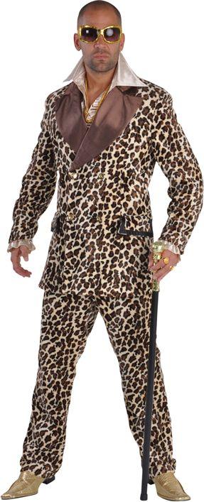 Luxe pimp kostuum tijgerprint heren