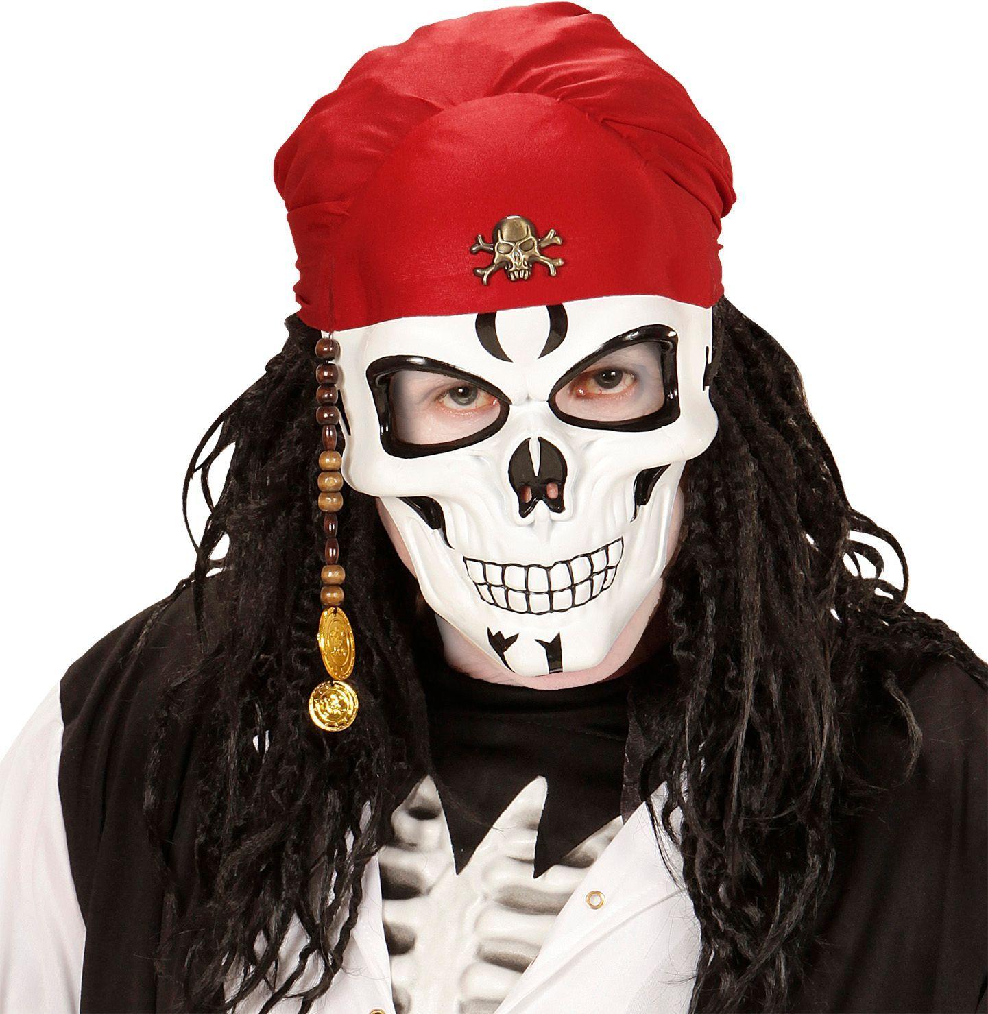Luxe piraten schedel masker met bandana en kralen
