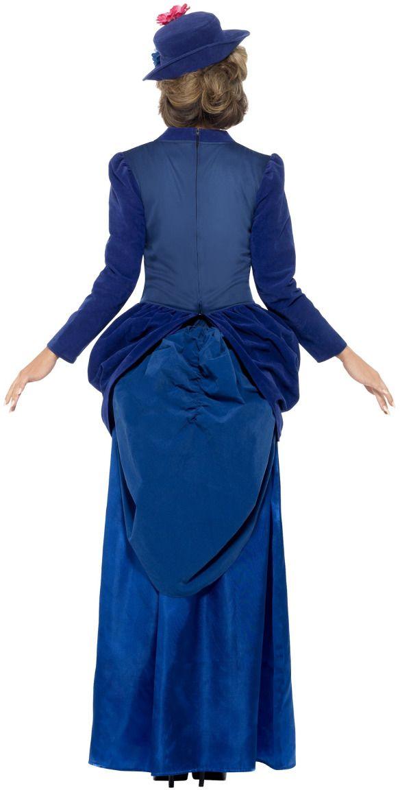 Luxe victoriaanse blauwe vrouwen jurk
