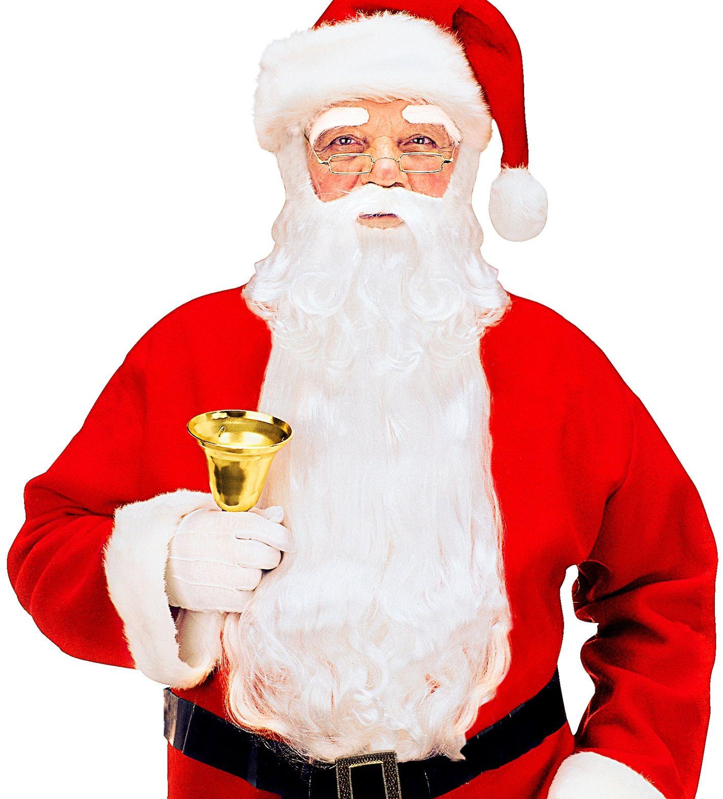 Luxe witte kerstman baard met snor en wenkbrauwen