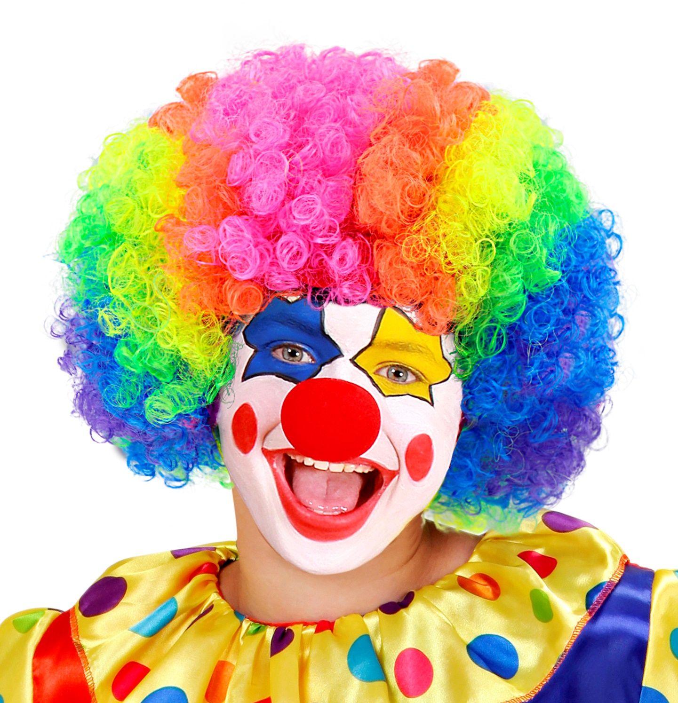 Meerkleurige clownspruik