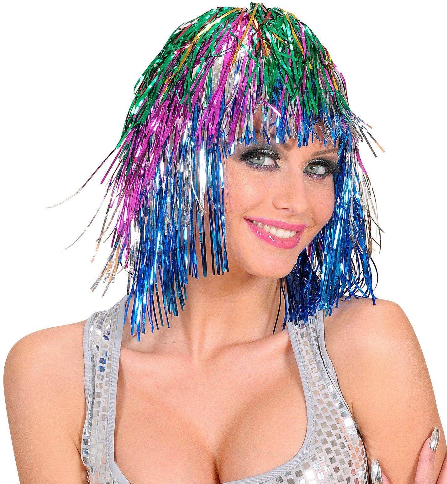 Meerkleurige disco pruik