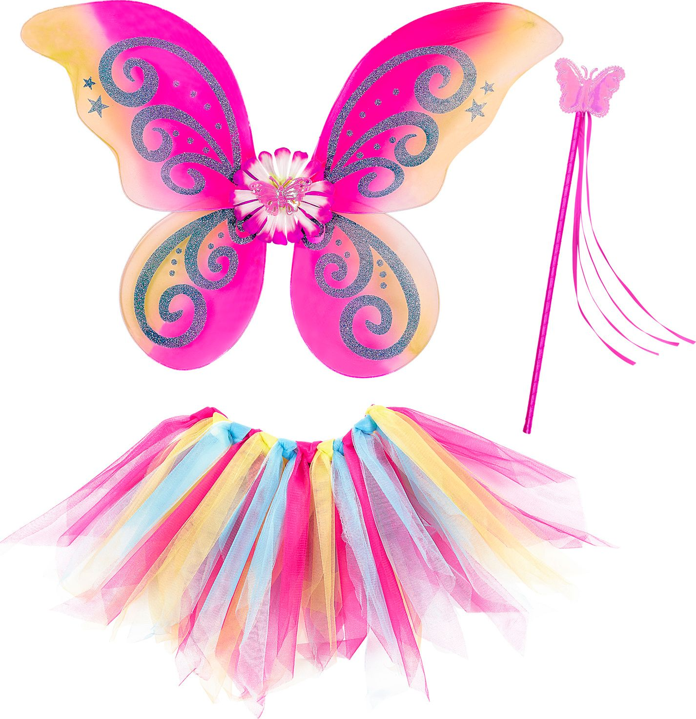 Meerkleurige feeën vleugels met tutu en toverstaf