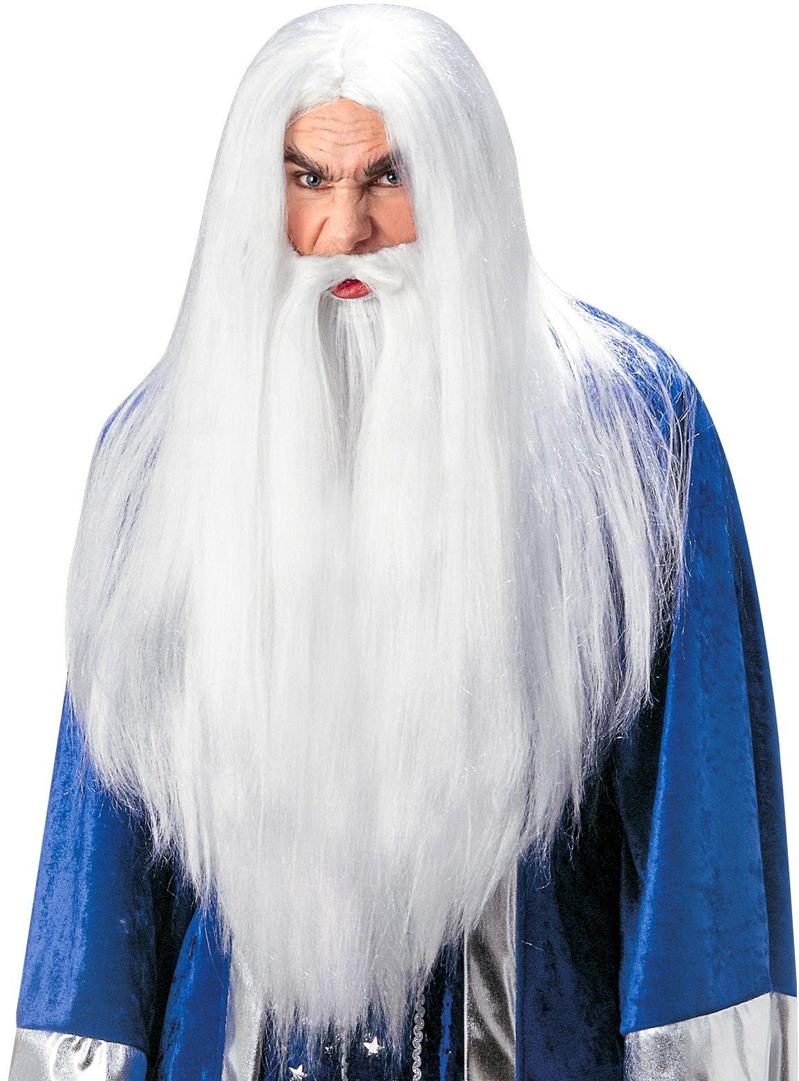 Merlijn de Tovenaar pruik met baard en snor