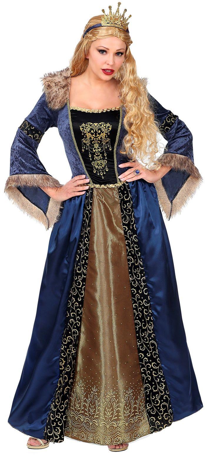Middeleeuwse koningin jurk blauw