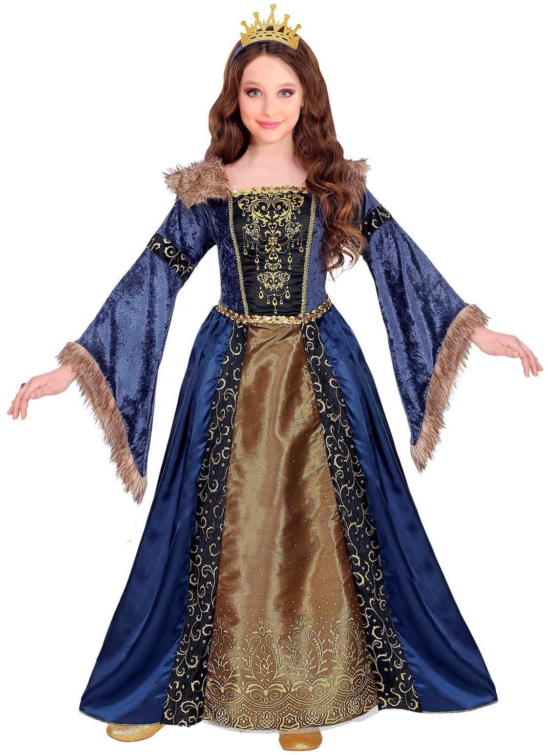 Middeleeuwse koninginnen jurk blauw