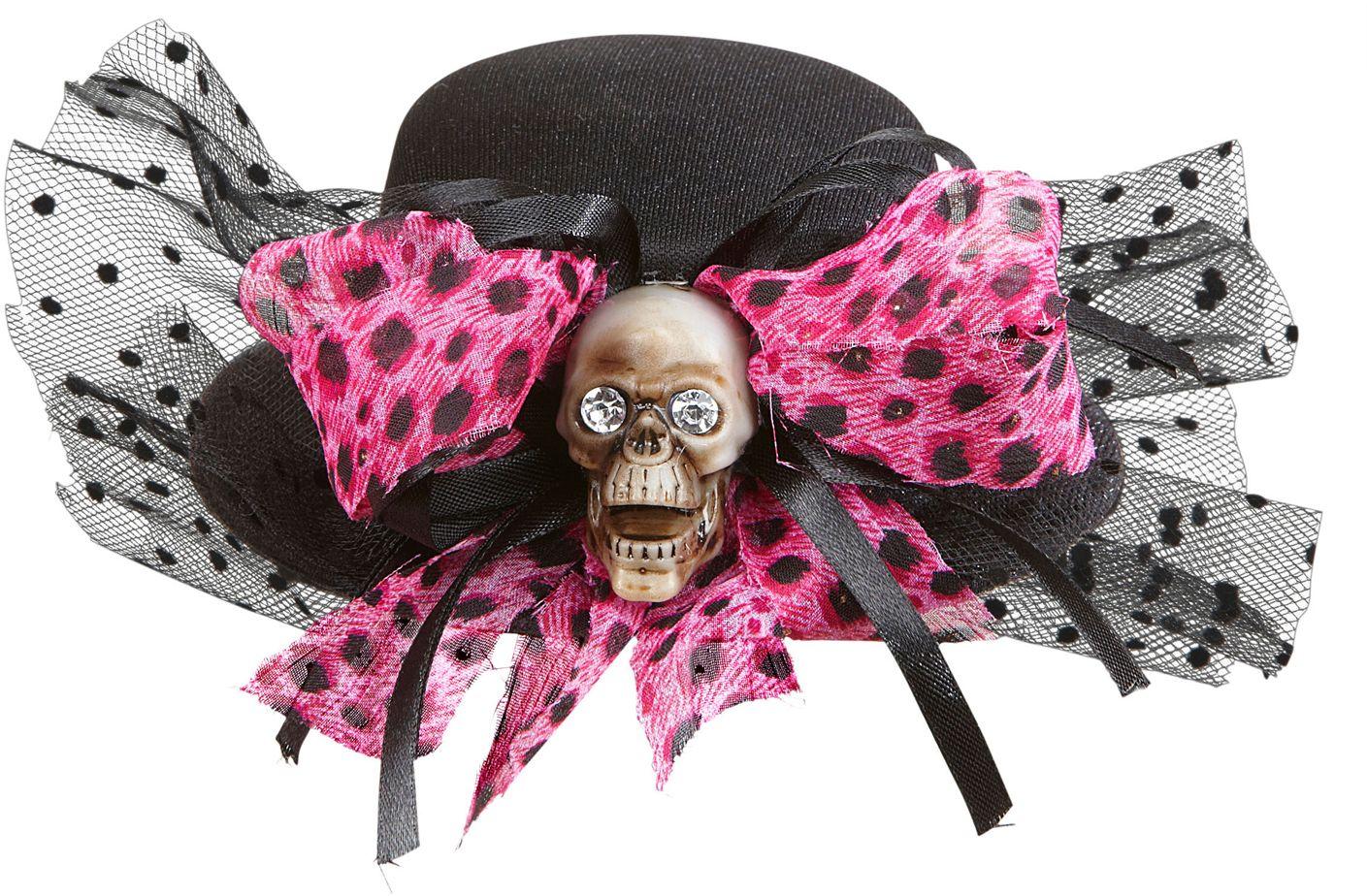 Mini hoedje met schedel en strikje