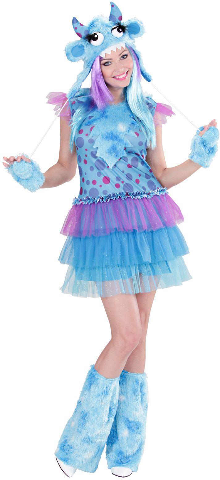 Monster kostuum dames Blauw