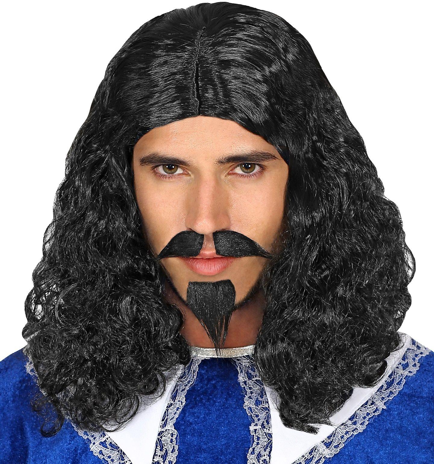 Musketier pruik met sik en snor