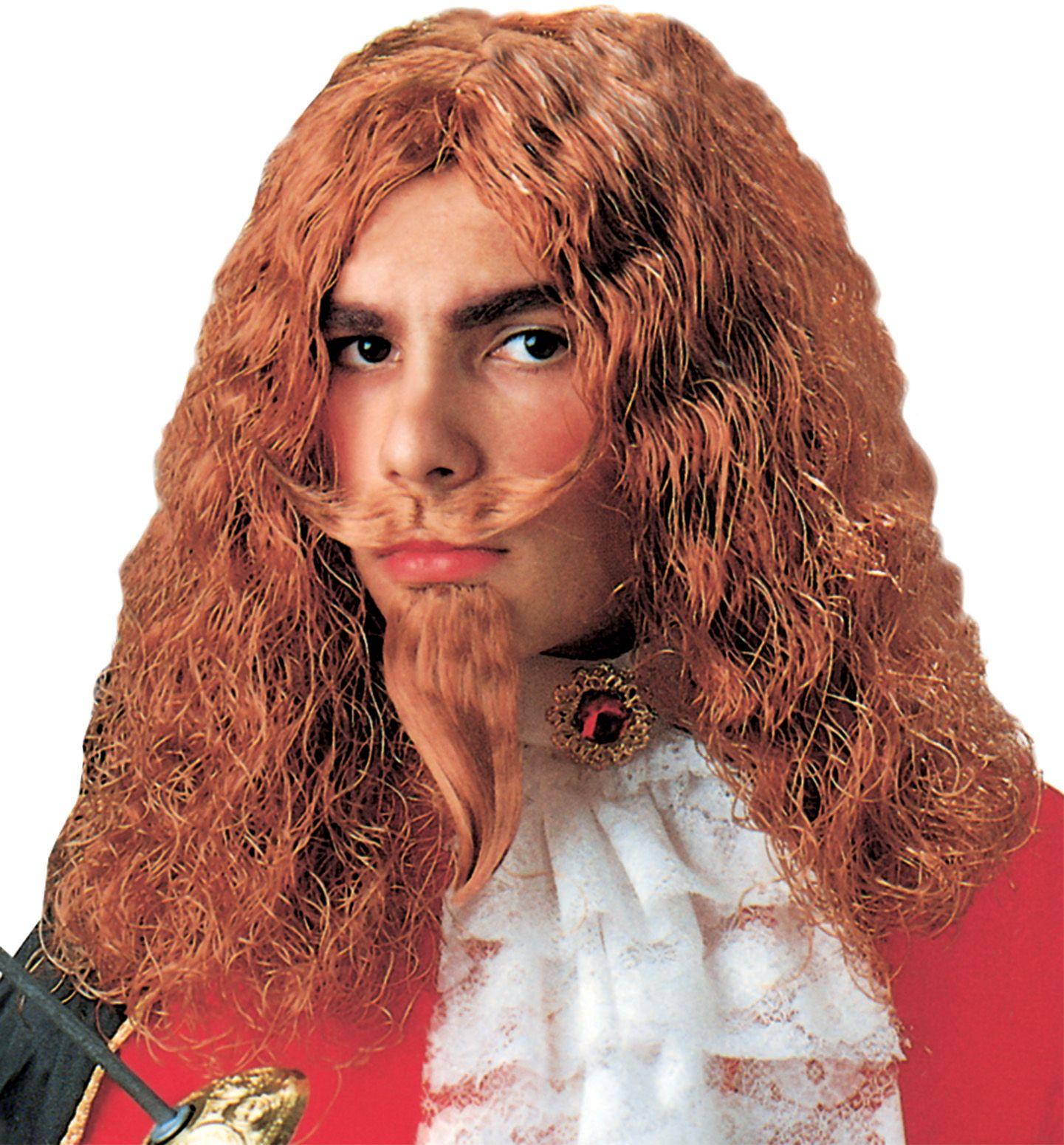 Musketier pruik met snor en baard kind
