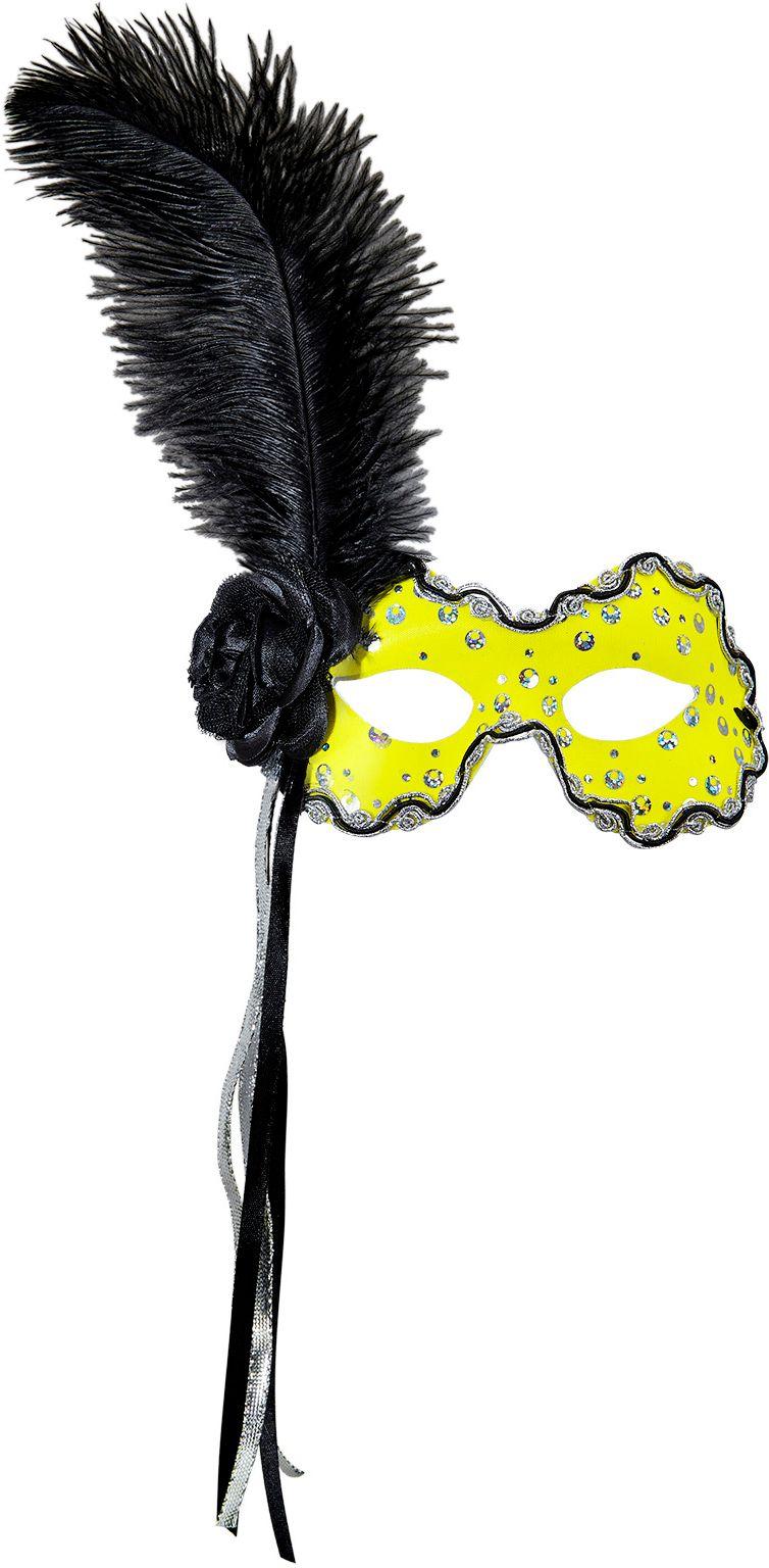Neon geel braziliaans oogmasker met veer en lint
