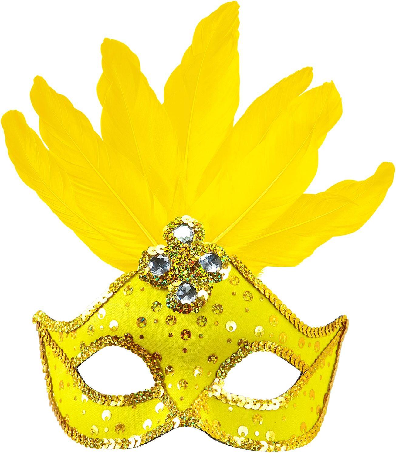 Neon geel braziliaans oogmasker met veren en parels