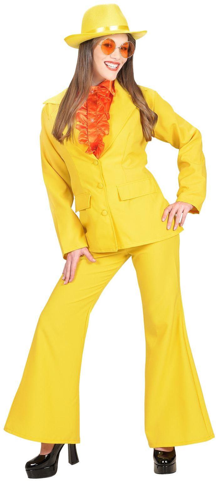 Neon geel dame kostuum