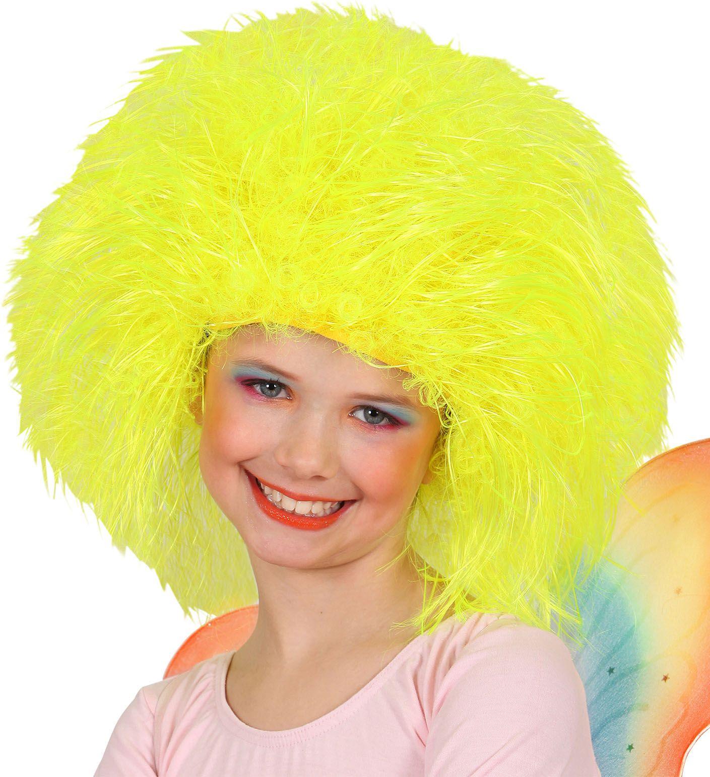 Neon gele fee pruik kind