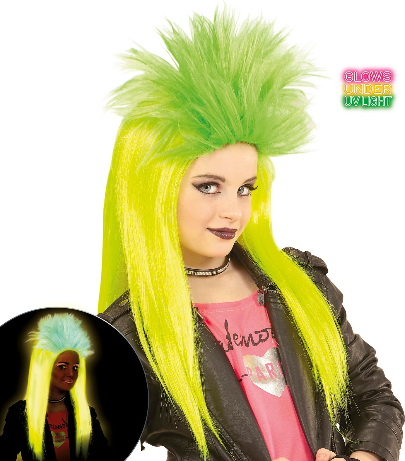 Neon gele-groene punk pruik