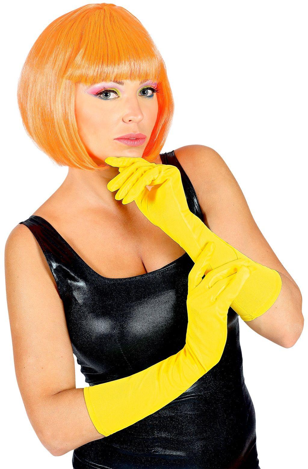 Neon gele lange handschoenen