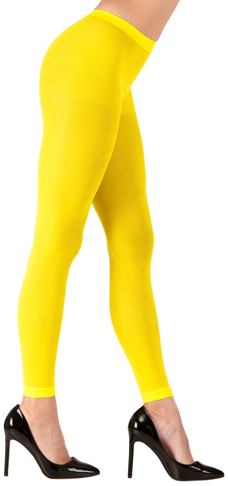 Neon gele legging One-size-volwassenen