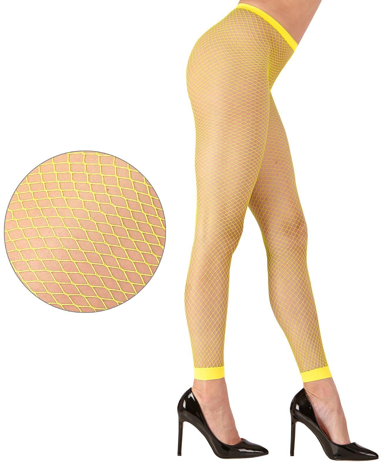 Neon gele visnet legging One-size-volwassenen