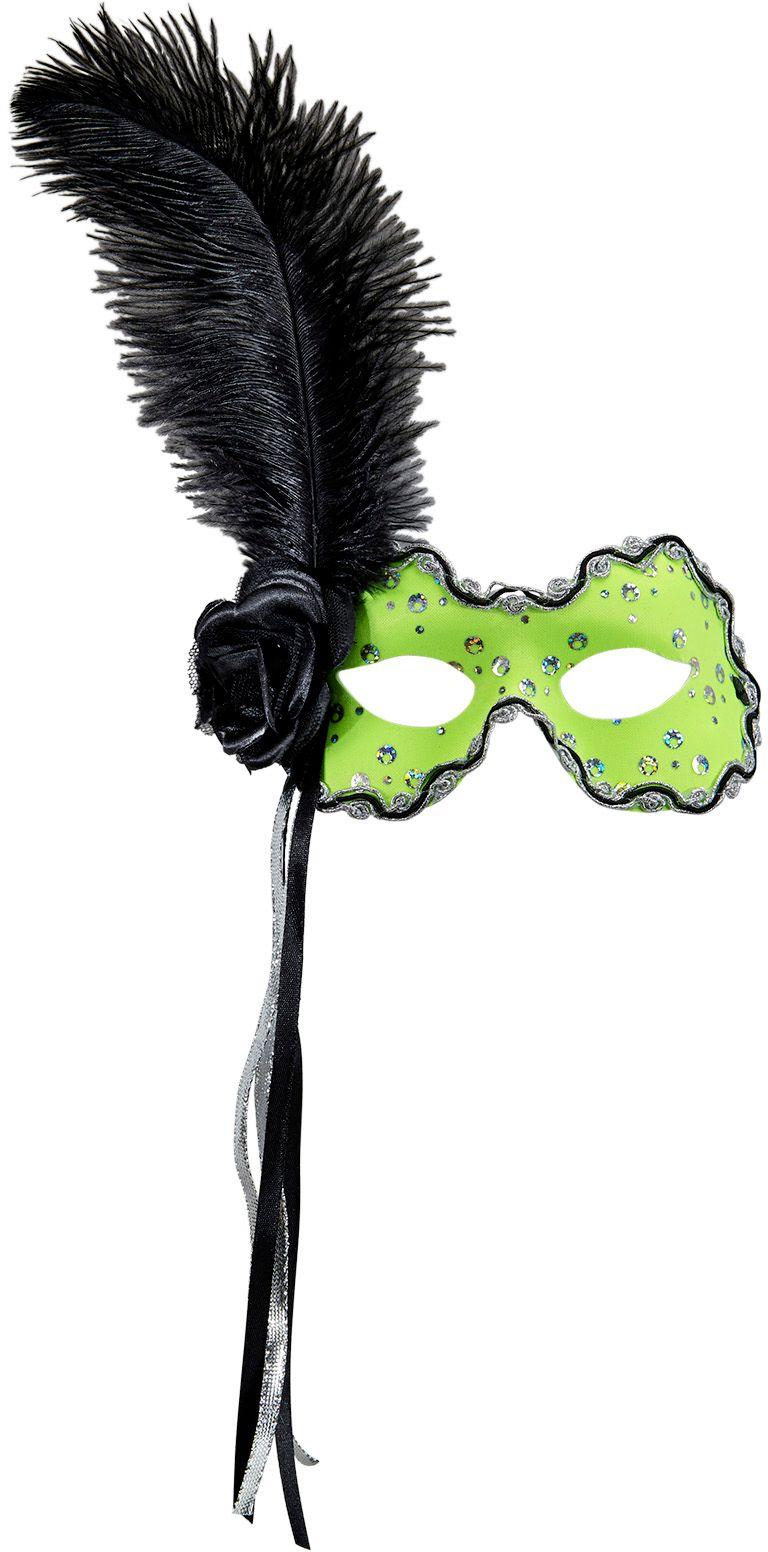 Neon groen braziliaans oogmasker met veer en lint