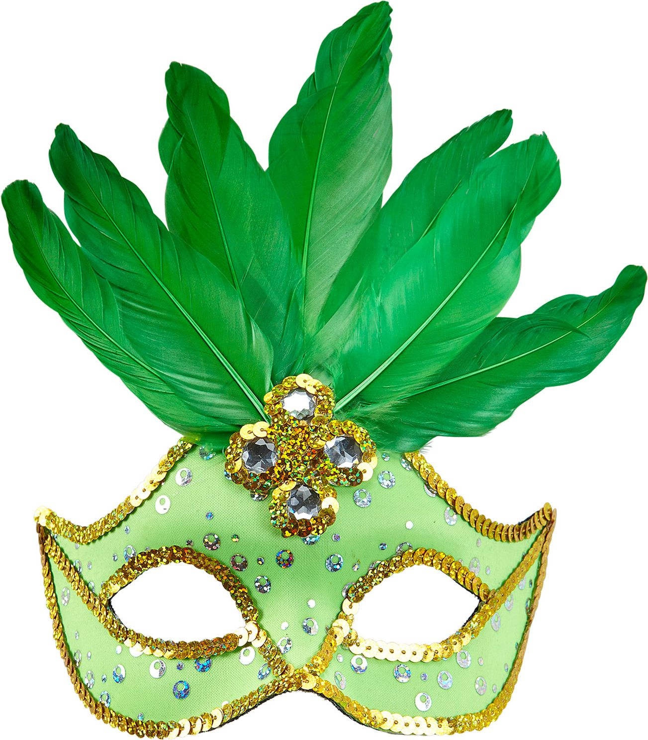 Neon groen braziliaans oogmasker met veren en parels