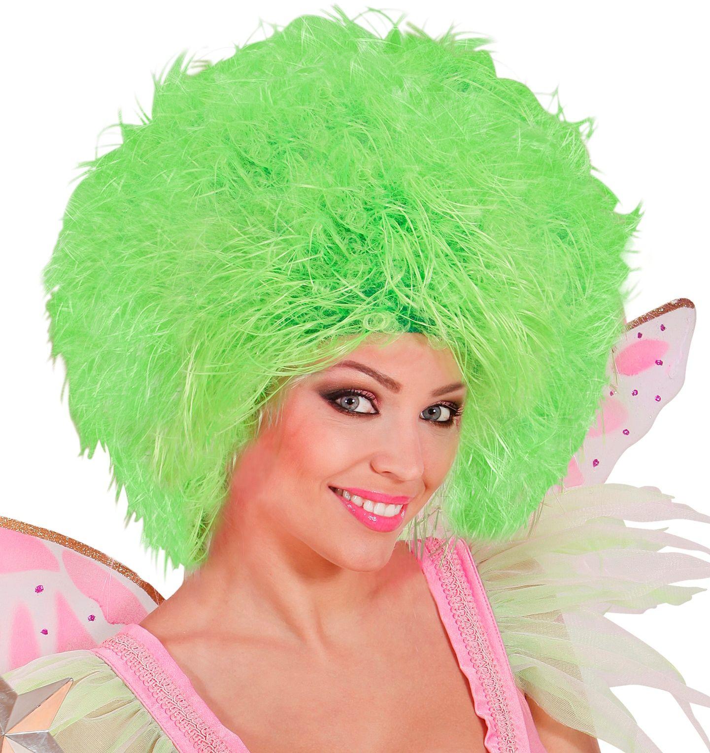 Neon groene fee pruik