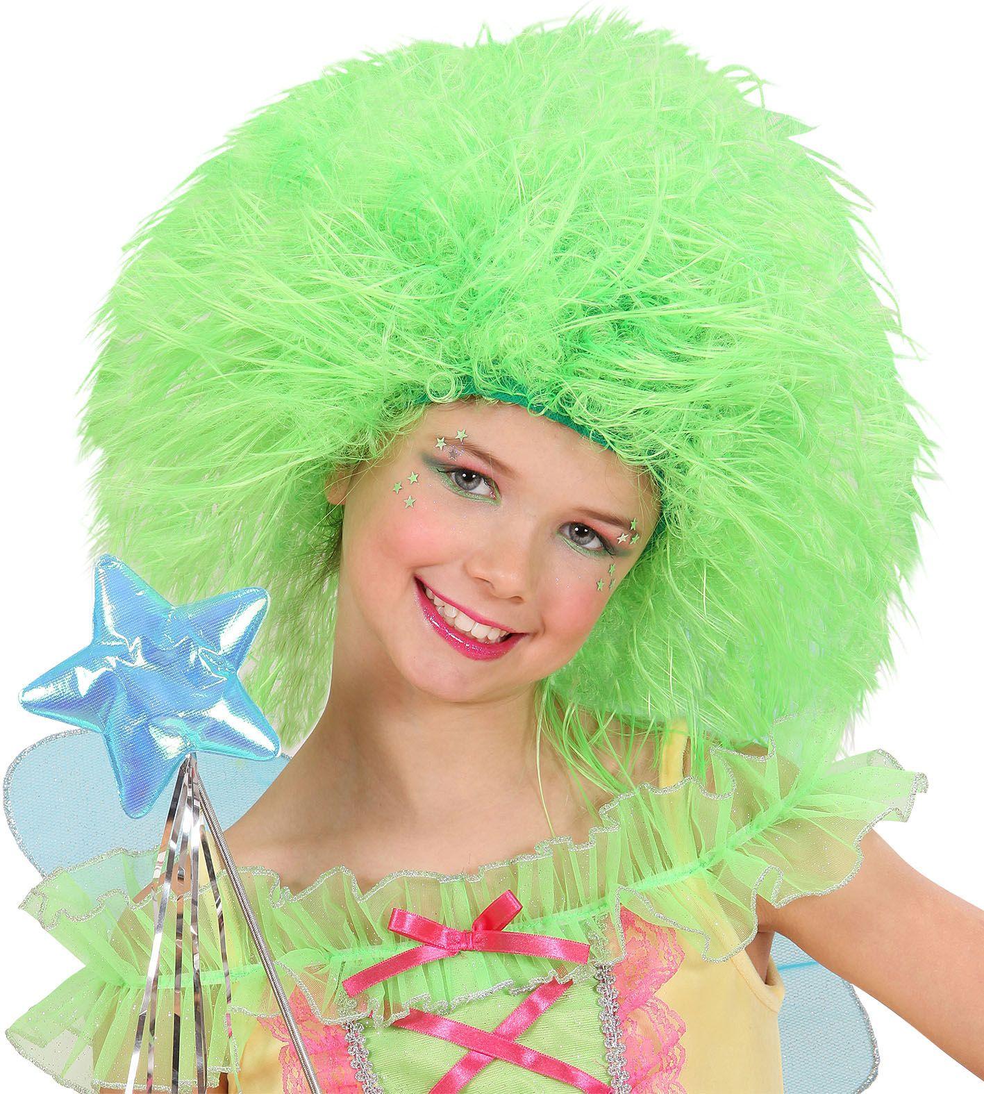 Neon groene fee pruik kind