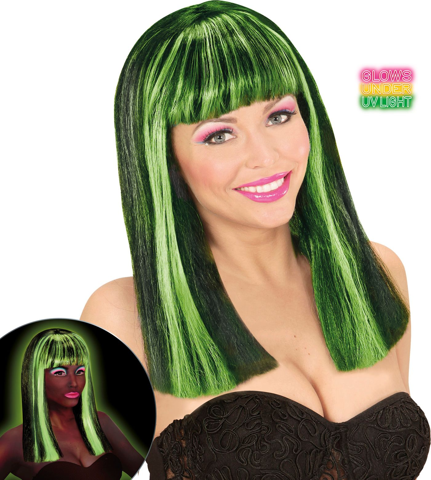 Neon groene gestreepte pruik