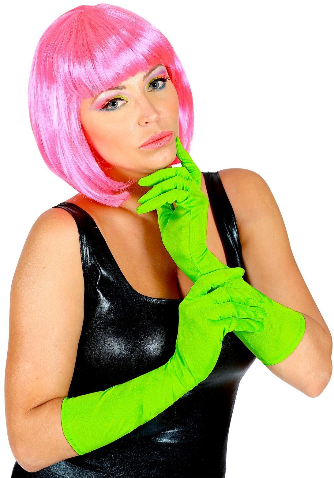 Neon groene lange handschoenen