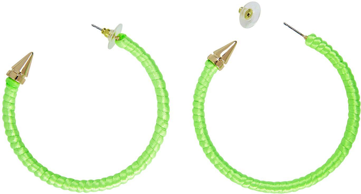 Neon groene ring oorbellen