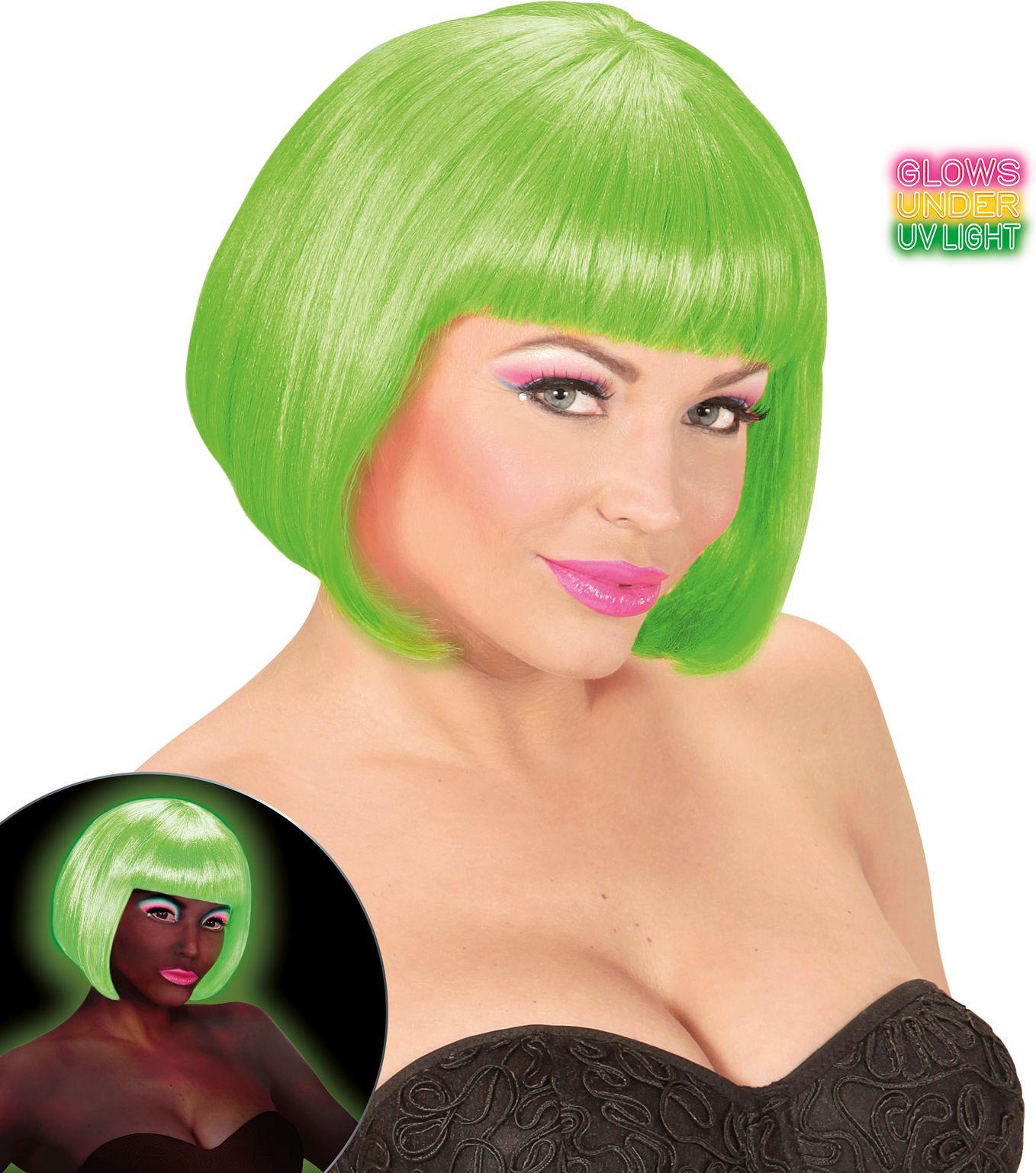 Neon groene valentijn pruik