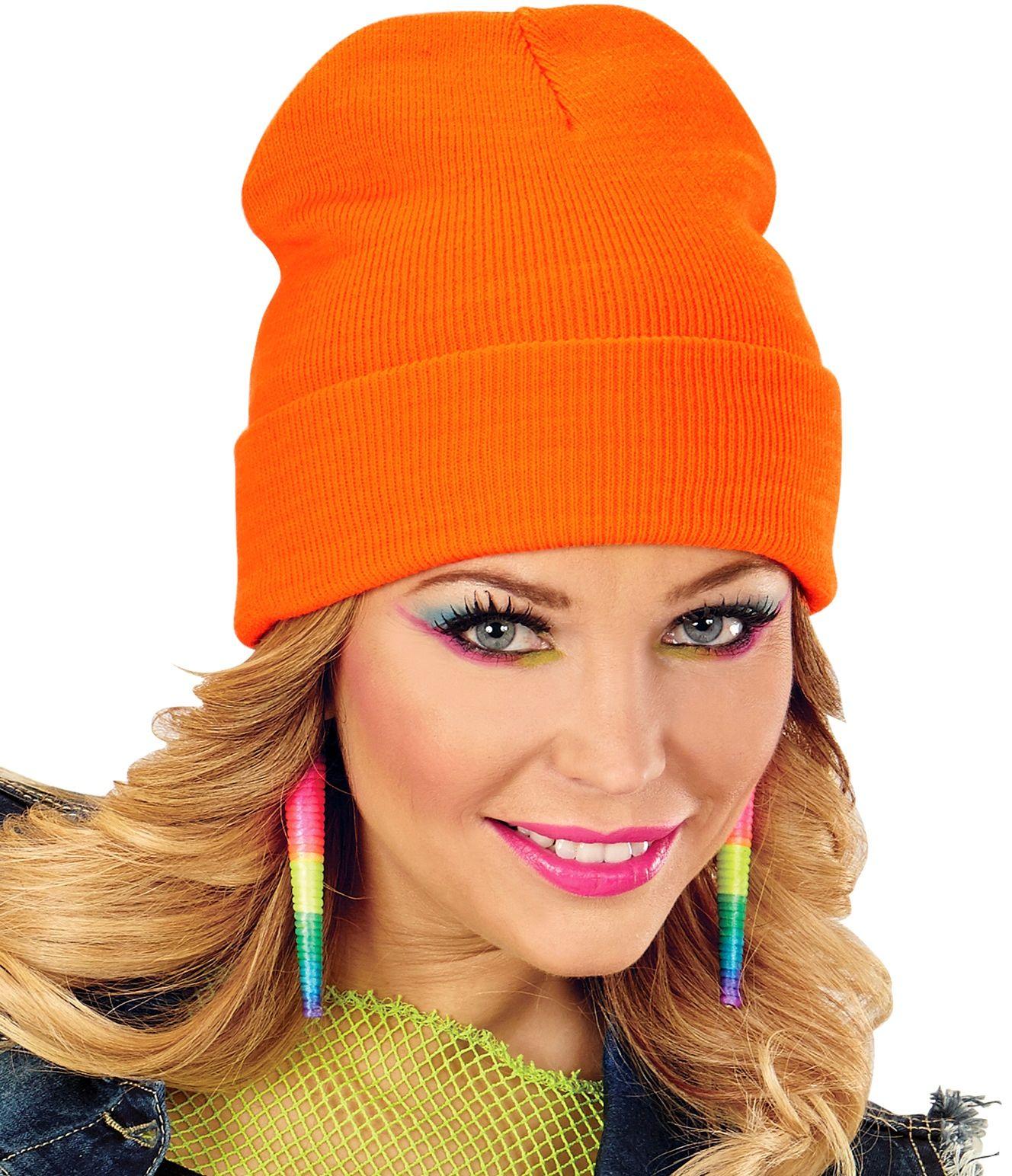 Neon oranje 80s muts