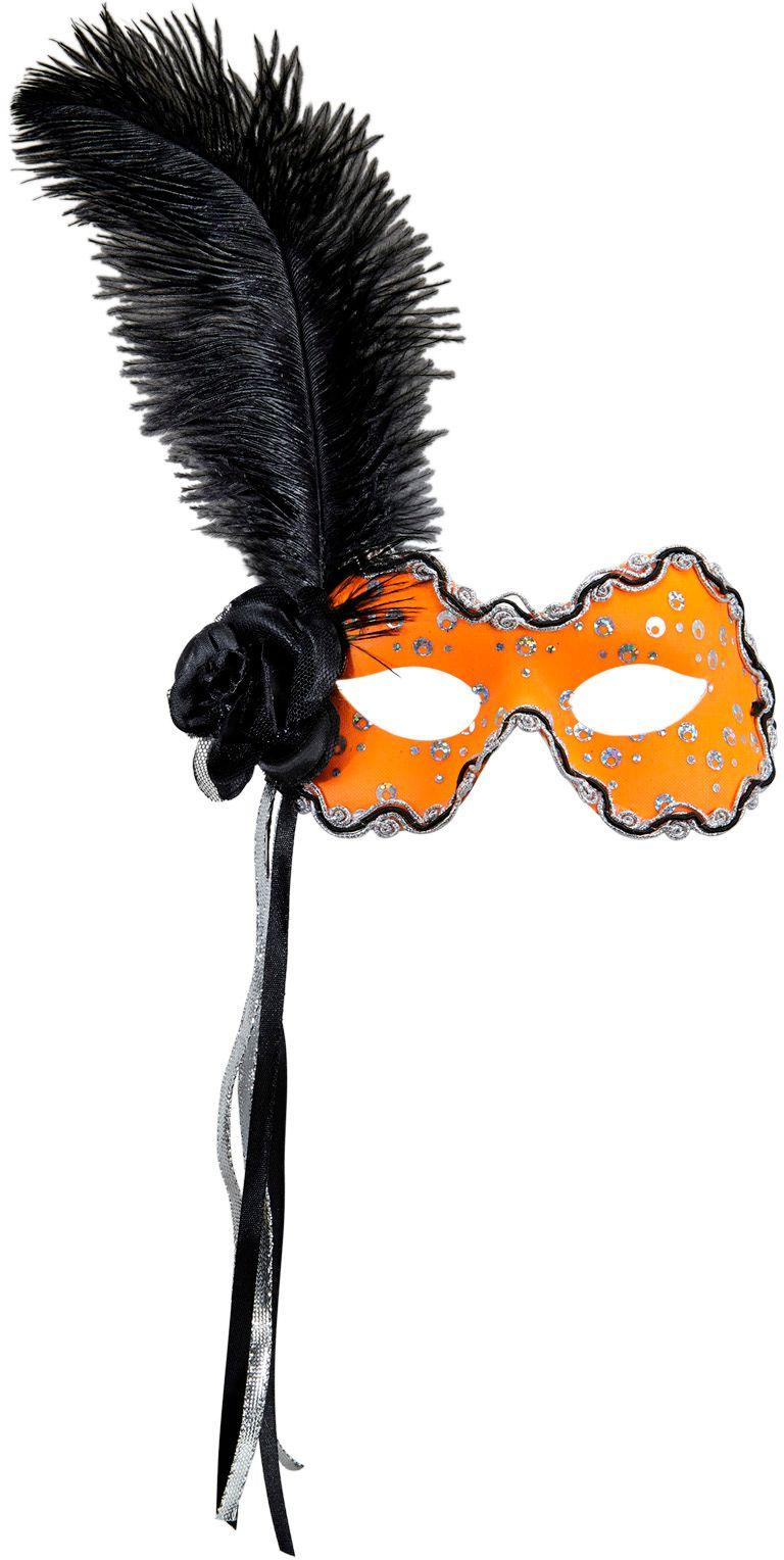Neon oranje braziliaans oogmasker met veer en lint