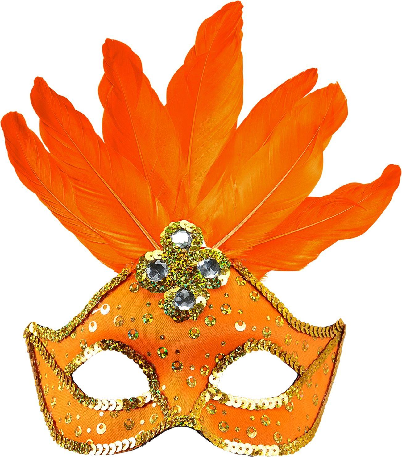 Neon oranje braziliaans oogmasker met veren en parels