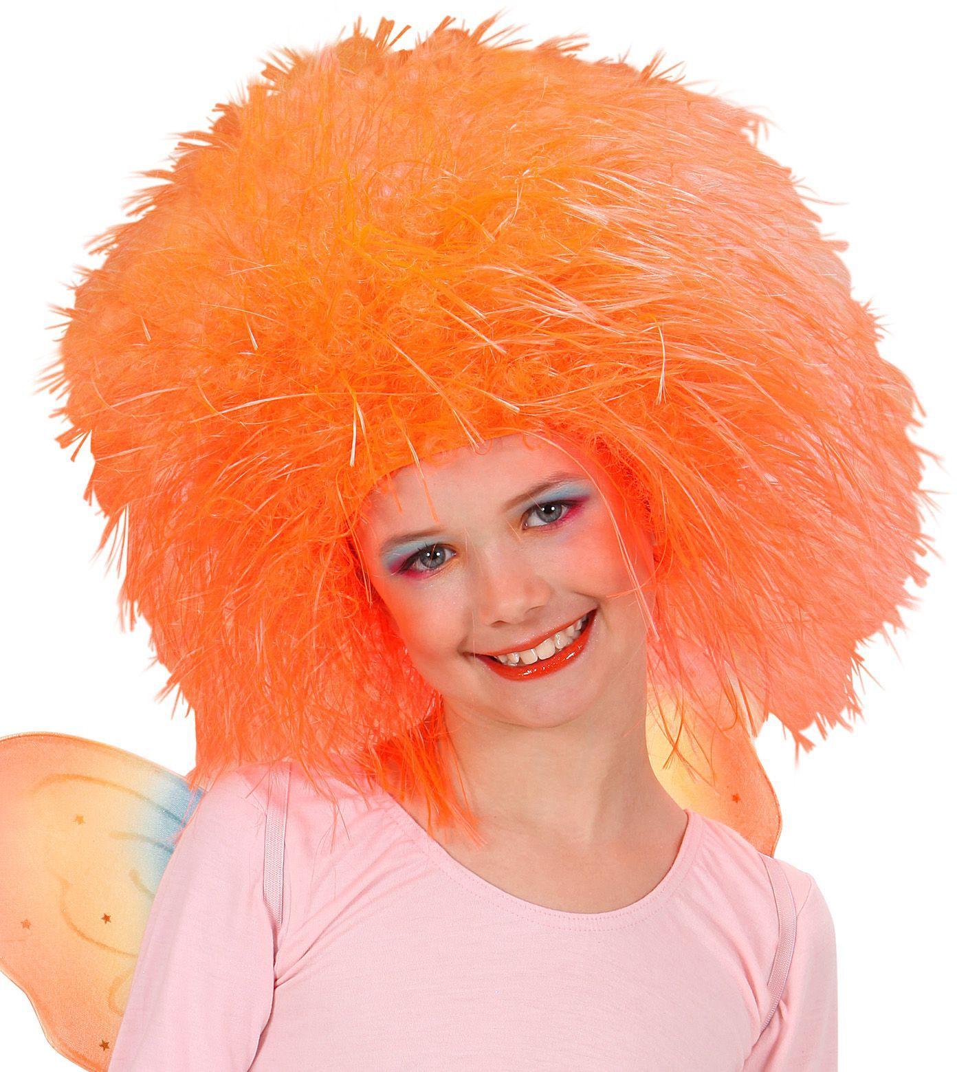 Neon oranje fee pruik kind