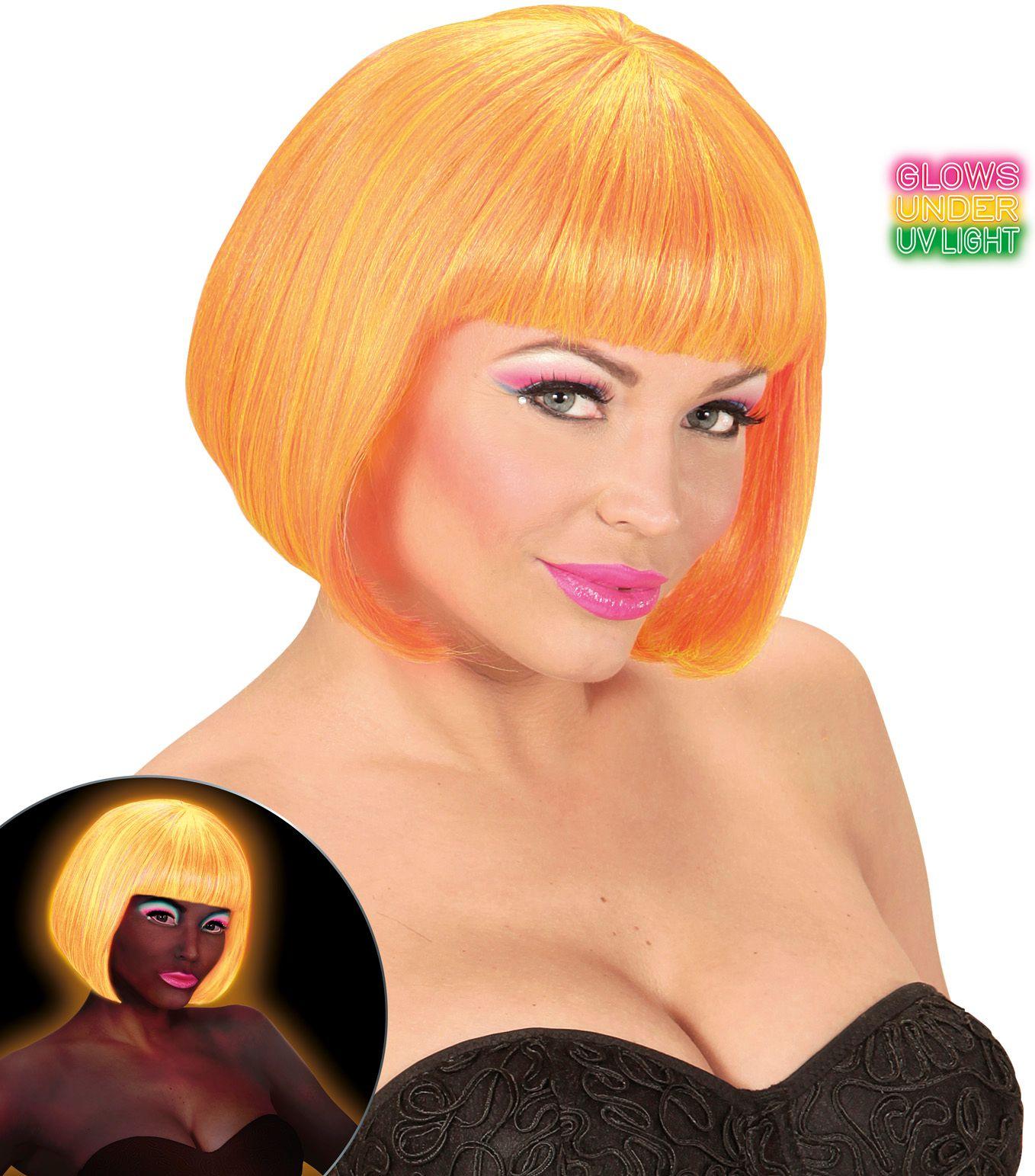 Neon oranje-gele valentijn pruik