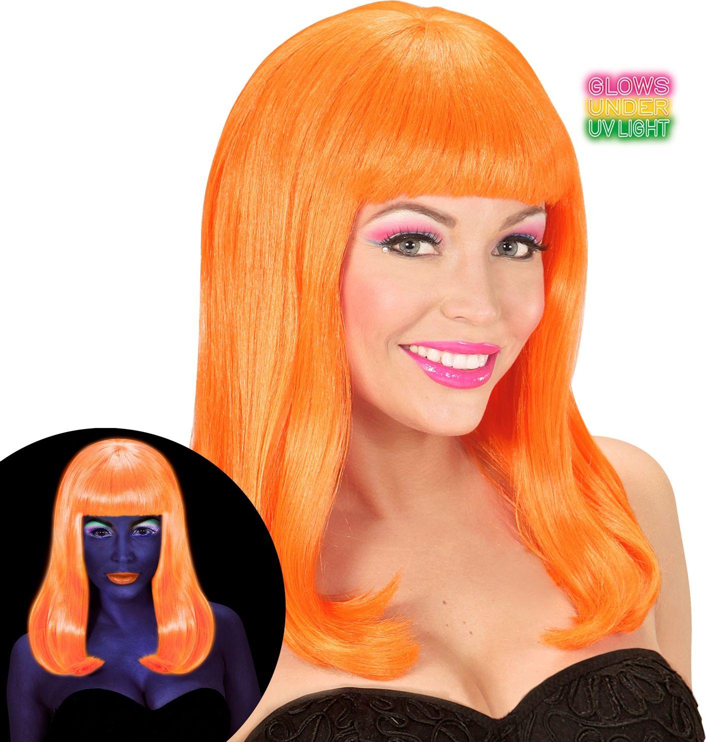 Neon oranje lange pruik