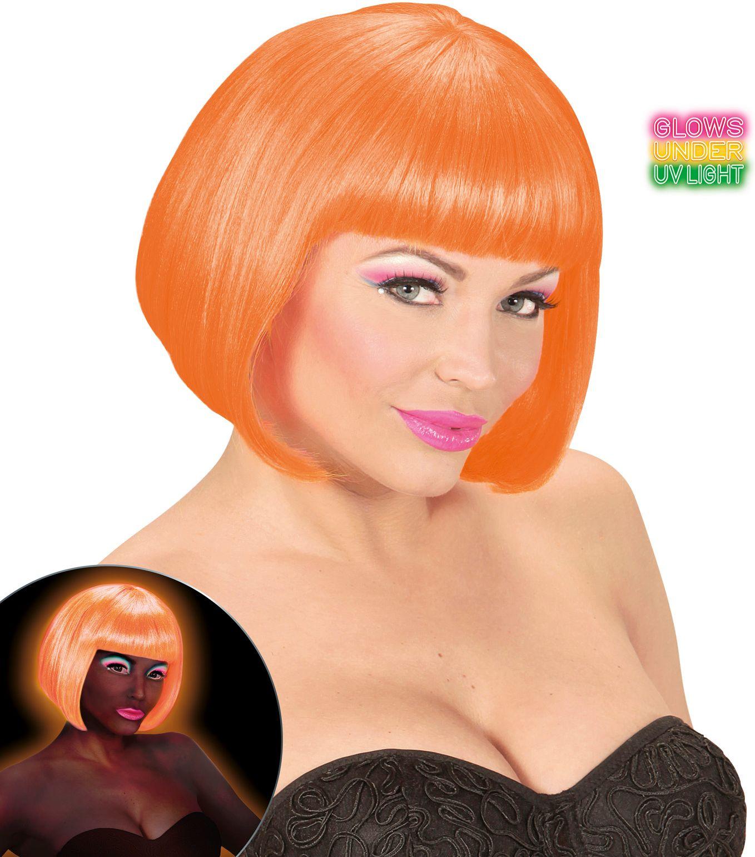 Neon oranje valentijn pruik