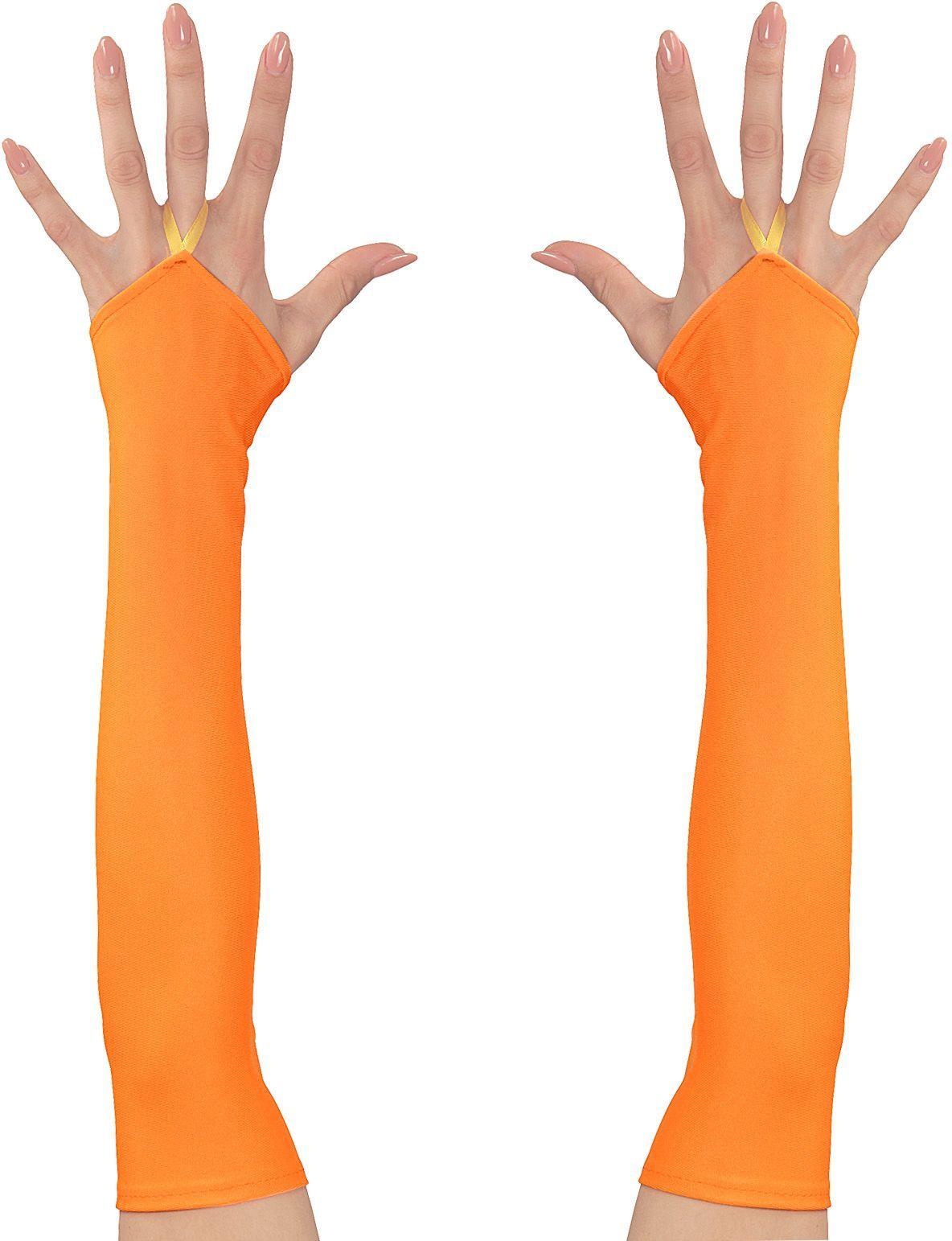 Neon oranje vingerloze satijnen handschoenen