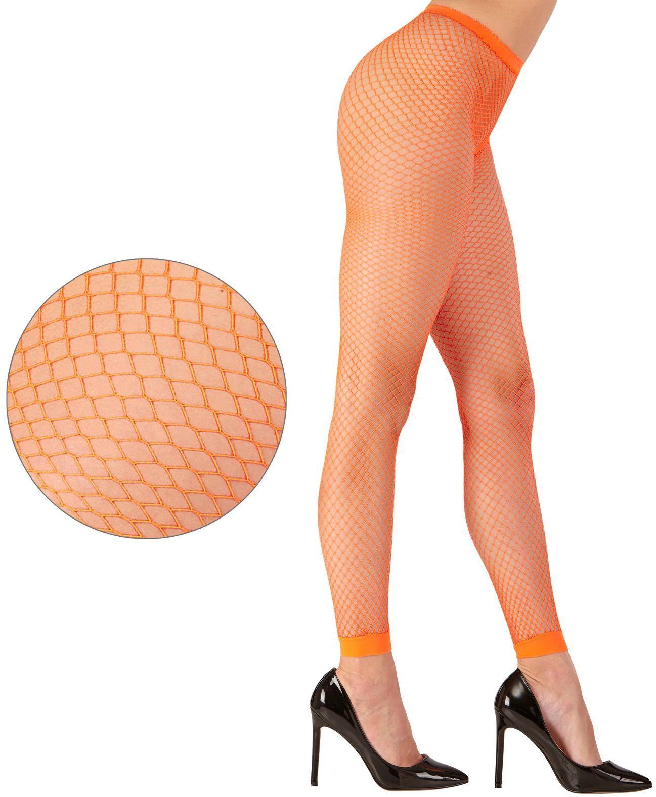 Neon oranje visnet legging One-size-volwassenen