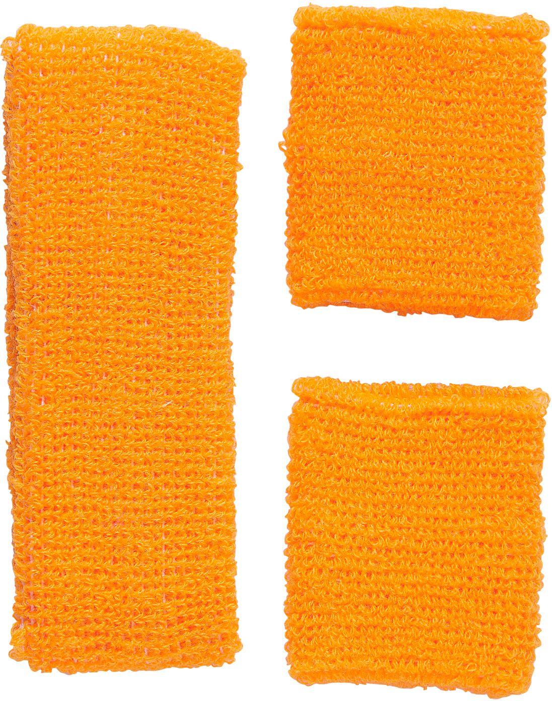 Neon oranje zweetband set