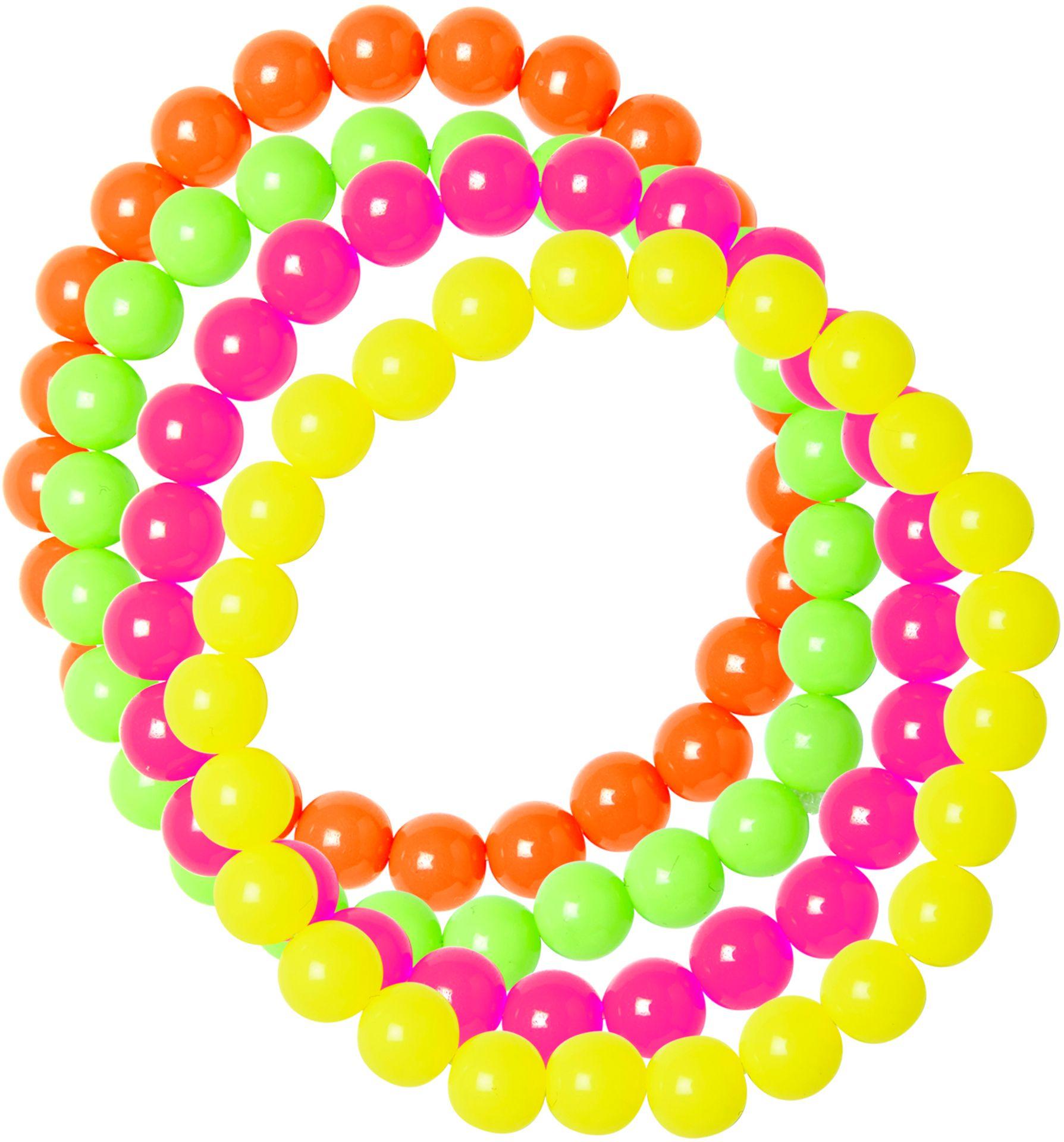 Neon parel armbanden 4 stuks