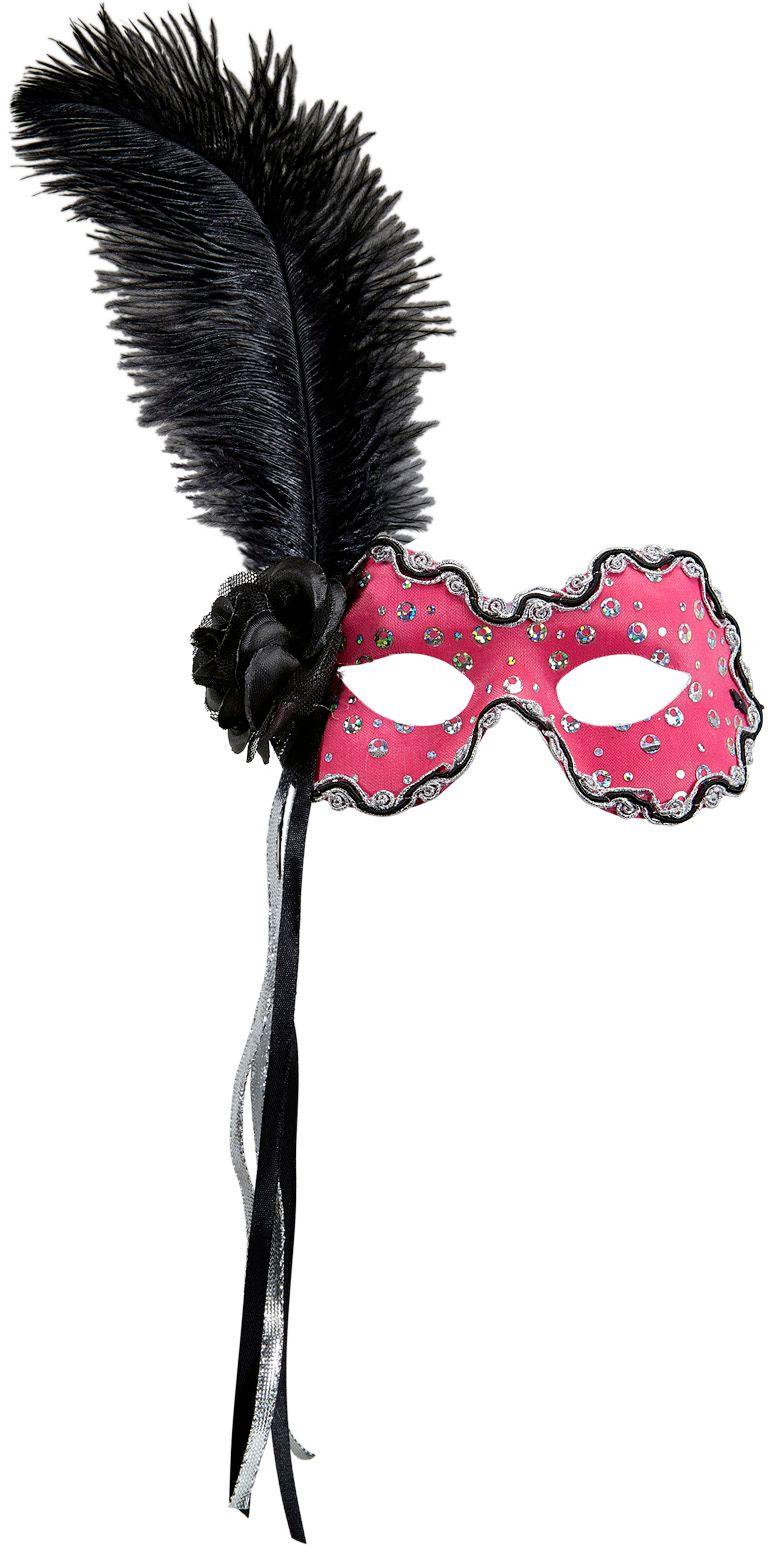 Neon roze braziliaans oogmasker met veer en lint