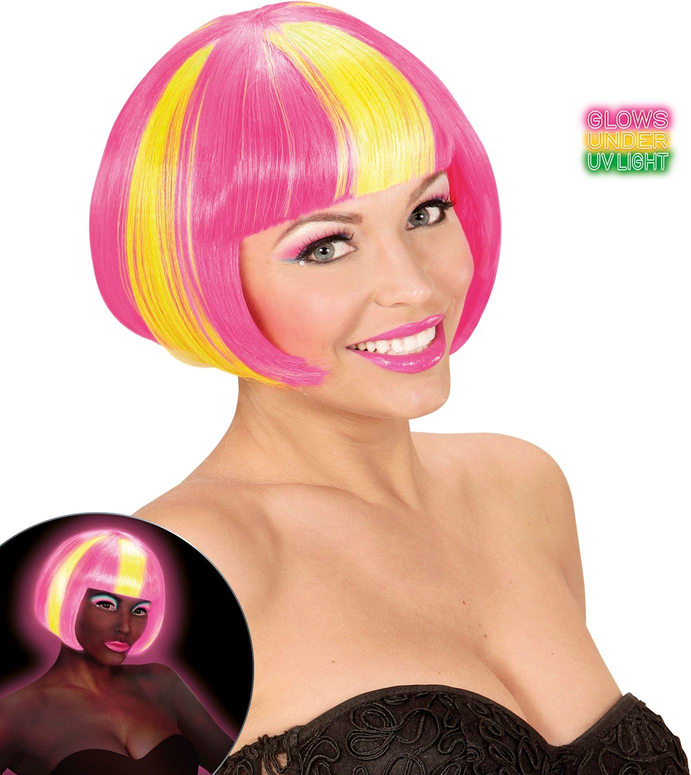 Neon roze-gele gestreepte pruik